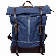 Amazon.com: VIRGINSTONE Handmade Canvas Casual Backpacks Leather Strap Blue: Sports & Outdoors