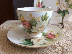 Hammersley-Co-Bone-China-Flower-Pattern-Trio-Cup-Saucer-Cake-Plate-High-Tea