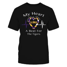 Heart Jumps & Skips A Beat - LSU T-Shirt, Louisiana State University Official Apparel. Show your pride for your school with this Skip a Beat T-shirt. This makes a great gift for any loved one (especially college kids).  The LSU Tigers Collection, OFFICIAL MERCHANDISE  Available Products:          Gildan Unisex T-Shirt - $24.95 Gildan Women's T-Shirt - $26.95 District Men's Premium T-Shirt - $27.95 District Women's Premium T-Shirt - $29.95 Next Level Women's Premium Racerback Tank - $29.95…