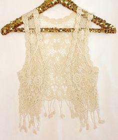 Crochet Tassel Vest in Cream or Ivory, Baby Toddler Girls, Boho Baby Girl