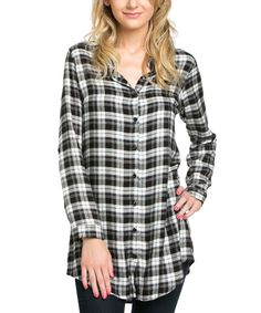 Look what I found on #zulily! Avenue Hill Black Plaid Button-Up Tunic by Avenue Hill #zulilyfinds
