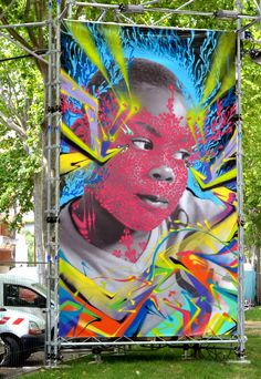 ALEXIS DIAZ (Puerto Rico) + Stinkfish (Colombia) were at  Rio Loco Music Festival in Toulouse. They painted on 5x3m photos that Stinkfish took last year in the Colombian island of Providence in the Caribean sea. 2014
