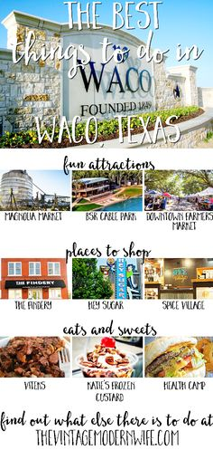 Coming to Waco for the weekend? Check out the Best Things to do in Waco, Texas! With shopping, restaurant, and attractions, there's something for everyone. Texas Vacations, Texas Roadtrip, Texas Travel, Travel Usa, Family Vacations, Dallas Travel, Family Getaways, Travel Logo, Romantic Vacations