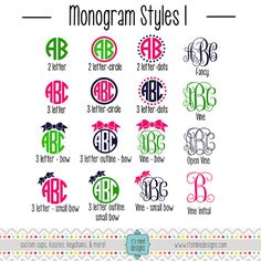 Custom Monogram Sticker or Decal - Vine, Bow, Circle - For Laptop, Car, Notebook, Etc. by ItsMineDesigns on Etsy