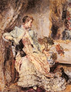An Elegant Lady and Her Dog - Eduardo Leon Garrido  19th century