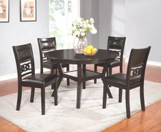 This transitional dinette features a round table with storage underneath, a chain link chair back design along with brown faux leather seating for upper back support. It is finished in a rich, dark cherry tone and is sold as a 5 piece set all coming Upper Back Support, Chair Backs, Dining Chairs, Cherry, Living Room, Dark, Storage, Table, Furniture