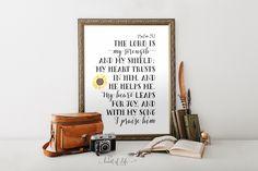 Printable art Bible verse art print Psalm 28 by HeartOfLifeDesign
