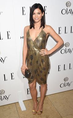 Jenna Dewan-Tatum shines bright in a simple gold metallic lamé dress by Reem Acra, which she pairs with matching Kurt Geiger London heels. The outfit is subtle yet sexy?our only recommendation is some form of statement jewelry and she's ready to rock!