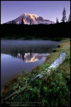 Morning light on Mount Rainier from Reflection Lake, Mount Rainier National Park, Washington