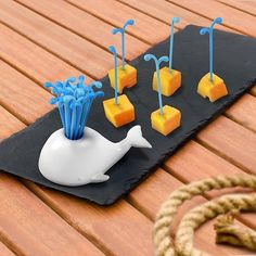 Moby Whale Party Picks are the proper harpoons to skewer your snacks with! Pick holder is shaped like a whale with 15 reusable blue picks sprouting from its blo Whale Food, Objet Wtf, Whale Party, Ocean Party, Luau Party, Party Fun, Whale Birthday, Hubby Birthday, Design3000