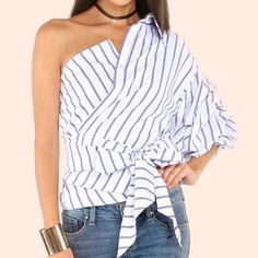 Blue and white striped cold shoulder tops for women tie front top