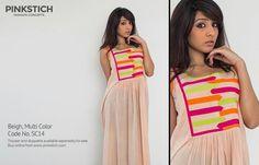 Pinkstitch beige and multi-colour kurta kurti  Item code: CS13B01-PS