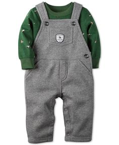 Carter's Baby Boys' 2-Piece Long-Sleeve T-Shirt & Gray Overalls Set
