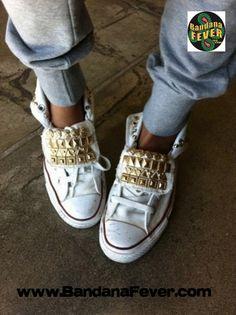 e9c26275a217 Bandana Fever - - Bandana Fever Custom Studded White Converse All-Star  Chuck Taylor Hi