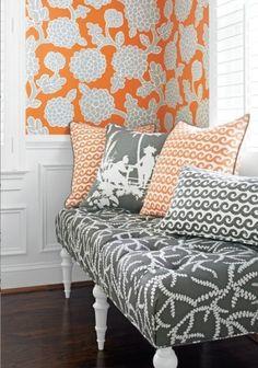 Amanda Carol Interiors | Color Smitten:  Bittersweet and Zinc | http://blog.amandacarolinteriors.com. Charish August 1, 2014 Relaxed patterns from Thibaut in soft grays and orange.