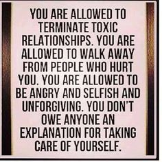 You are allowed.  It's okay. It doesn't mean you hate the other person but are simply acknowledging you need to take care of yourself.