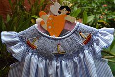 SALE Smocked Dress Sailing Boat Dress Smocked by Poropototos