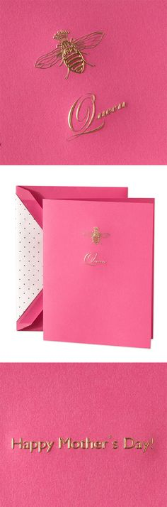 Hand Engraved Queen Bee Mother's Day Greeting Card: She's the queen bee of the family, which is why this hot pink card engraved with an adorable gold crowned bee is the perfect for the head of your hive.
