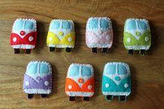 VW Classic campervan Orange Rainbow Toy Plushie Air Freshener Felt. £9.00, via Etsy.