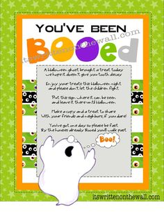 (Free Printable and Tags) You've been BOOed Halloween Treats  plus 5 free Halloween Tags   It's Written on the Wall