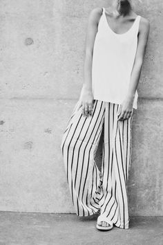 Minimal + Classic: striped wide-legs and tank