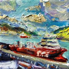 Mini painting by Irene Duma. Ships in the harbour, so brightly coloured that look like gummy bears. x oil on canvas. Mini Paintings, Landscape Paintings, Canadian Art, Gummy Bears, Affordable Art, Newfoundland, Oil Painting On Canvas, Irene, Online Art