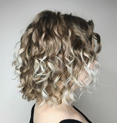 Dark Blonde Curly Bob with Platinum Highlights