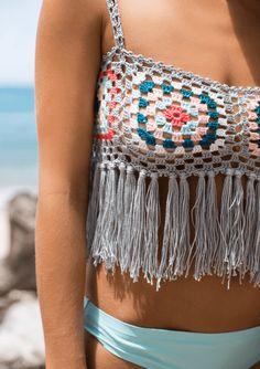 Bisou Knit Crop Top, Luxury Resort Crochet Mini Tank, Crochet Crop Top with Fringe Crochet Granny, Hand Crochet, Hand Knitting, Knit Crochet, Hippie Crochet, Crochet Baby, Cropped Tops, Crochet Crop Top, Crochet Bikini