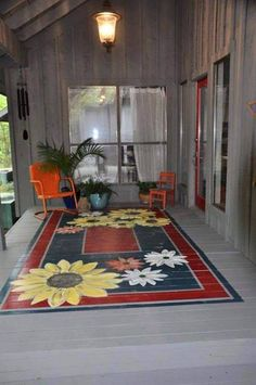 Painted rug for porch hmmmm I am liking this idea! Painted rug for porch hmmmm I am liking this idea! Painted Porch Floors, Porch Paint, Porch Flooring, Painted Rug, Plank Flooring, Painted Furniture, Painted Floor Cloths, Painting Concrete Porch, Painted Patio Concrete