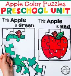 Preschool Apple Theme - Color Puzzles for Preschool #preschool #preschoolworksheets #appletheme #appleworksheets #planningplaytime