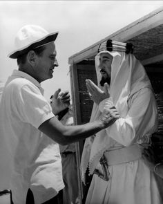 Director David Lean and Alec Guinness on the set of Lawrence of Arabia, 1962