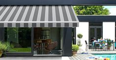 The Rollerflex Folding Arm Retractable Awning is the ideal solution to provide sunshade protection for your outdoor areas such as decks and patios. The Spanish fabrics are specifically designed to provide sunshade protection. Patio Blinds, Outdoor Blinds, House Blinds, Outdoor Curtains, Patio Awnings, Window Awnings, Patio Roof, Pergola Patio, Bache Pergola