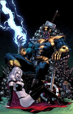 Thanos and Lady Death colored print.  pencils and inks by ace continuado, colors by jskipper.