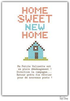 Borduurpatroon 'Home sweet home' in kruissteek