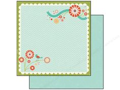 Echo Park Happy Tune Paper from the So Happy Together Collection is double-sided scrapbook paper designed by Deena Rutter. One side has a chevron background pattern in tone-on-tone Robin's Egg, with a Green and White scallop border/frame. Inside, in opposing corners, are bold retro-graphic flower grouping, one with a bird. All in Pink, Red, Orange, Green, Turquoise, Black, and White. The reverse side has a mini dot pattern in tone-on-tone Robin's Egg. Acid and lignin free. 65 lb. 12 x 1…
