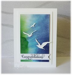 Soaring Sea Birds by frenziedstamper - distress ink on an acrylic block creates the background.