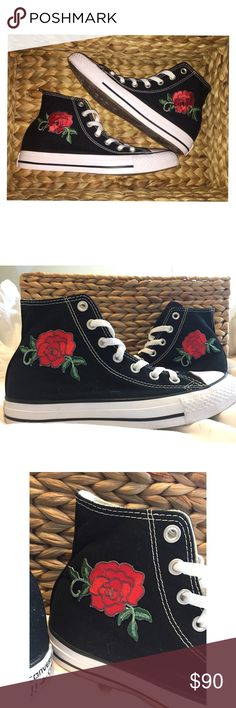 Custom Rose Converse (Read Description) PRICE IS FIRM because they take awhile to make. Like new women's size 7 authentic converse! Customized with a rose iron on patch and sewed on by hand! Perfect to wear your chucks and still be dressy. --- > If you want a pair in YOUR SIZE you can comment and let me know. I'd be more than happy to make you a pair. Converse Shoes Sneakers