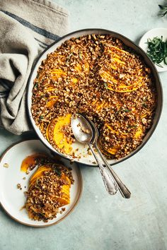Add this to your holiday menu: A savory-sweet squash gratin from Laura Wright of The First Mess. Add this to your hol Healthy Holiday Recipes, Delicious Vegan Recipes, Thanksgiving Recipes, Healthy Meals, Old Recipes, Dinner Recipes, Family Recipes, Baking Recipes, Easy Recipes
