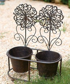 Look what I found on #zulily! Black Metal Floral Double Planter by Transpac Imports #zulilyfinds