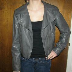 Gray Pleather Jacket $$MOVING SALE$$ MOVING SALE!!!!!! CLOSET CLEAR OUT! Taking all offers as long as they are made using the button! (Note I do not accept offers $5 or less) I also bundle for a bargain, just ask! I do NOT trade. Mossimo Supply Co Jackets & Coats