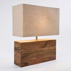 KARE Rectangular Wood - lampe à poser en bois de Kare Wooden Table Lamps, Table Lamps For Bedroom, Rustic Lamps, Wood Lamps, Wood Lamp Base, Bois Diy, Wooden Diy, Floor Lamp, Home Decor