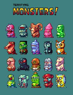 20 mini monsters. Nice chibi style with good distinctions all using the same basic size / shape. Nice shading as well.