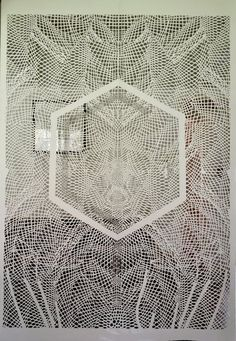 "Tahiti Pehrson    ""complex geometrical patterns in his hand-cut paper sculptures"""