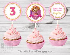 Get these adorable personalized Skye cupcake toppers for your next Paw Patrol birthday party. #paw #patrol #skye #party #pawty #birthday #SkyeParty #decoration #decoration #ideas #Girl #pawty #pupsBirthday #dog #birthday #SkyePawPatrol #Custom #BirthdayBanner #backdrop #cupcake #toppers #paw #patrol #girl #pink #tea #party