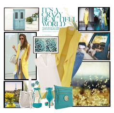 """YELLOW AND MINT"" by polyvore-suzyq ❤ liked on Polyvore featuring Pottery Barn, Prada, Victoria Beckham, Wrangler, Alaïa, River Island, Kenneth Jay Lane, Elie Tahari, MKF Collection and Nine West"