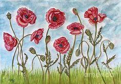 Poppy Field. mixed media on paper. #poppy #flowerart #Caroline Street #painting #artist