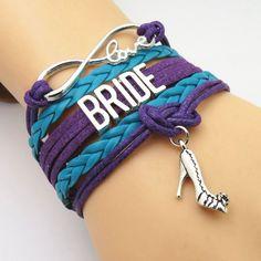 Infinity Love Purple & Teal Wedding Party Bracelets - 50% Off Sale