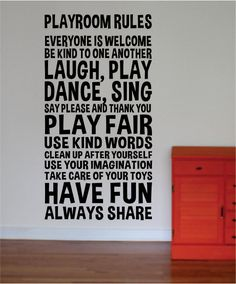 Playroom Rules Nursery Kids Children Quote Decal Sticker Wall Vinyl Decor Art Playroom RulesThe latest in home decorating. Beautiful wall vinyl decals, that are simple to apply, are a great accent piece for any room, come in an Playroom Rules, Playroom Organization, Playroom Decor, Boys Playroom Ideas, Playroom Design, Small Playroom, Kid Decor, Basement Ideas, Organizing