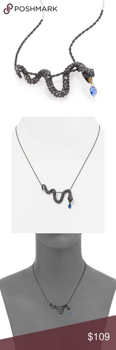 """NEW Alexis Bittar Pavé Crystal Serpent Necklace Alexis Bittar Elements Dark Alchemy Pavé Swarovski Crystal Snake Necklace  From the Elements Dark Alchemy Collection.  Rich, dark pavé snake slithers across chain with charm tongue.  Swarovski crystal and Preciosa crystal. Blue hydroquartz.  Goldtone and gunmetal-tone.  Length, 16"""" with 3"""" extender. Pendant length, 1.85"""". Pendant width, 0.35"""". Retail $175  NEW without tags.  The last four photos were from the actual necklace I'm selling. Alexis…"""