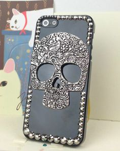 iPhone 5 Black Case Copper Punk Silver Skull with Studded Rhinestone Trim